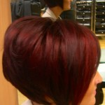 Here we also used a vibrant shade of red hair colour to make the hair style stand out more
