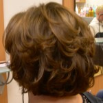 We have also used hair tints and highlights in this layered bob